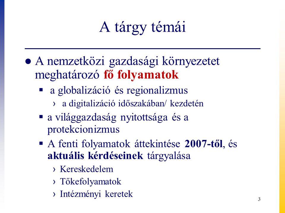 A tárgy témái A nemzetközi gazdasági környezetet meghatározó fő folyamatok. a globalizáció és regionalizmus.