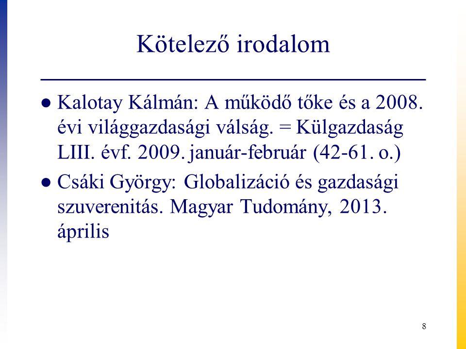 Kötelező irodalom Kalotay Kálmán: A működő tőke és a 2008. évi világgazdasági válság. = Külgazdaság LIII. évf. 2009. január-február (42-61. o.)