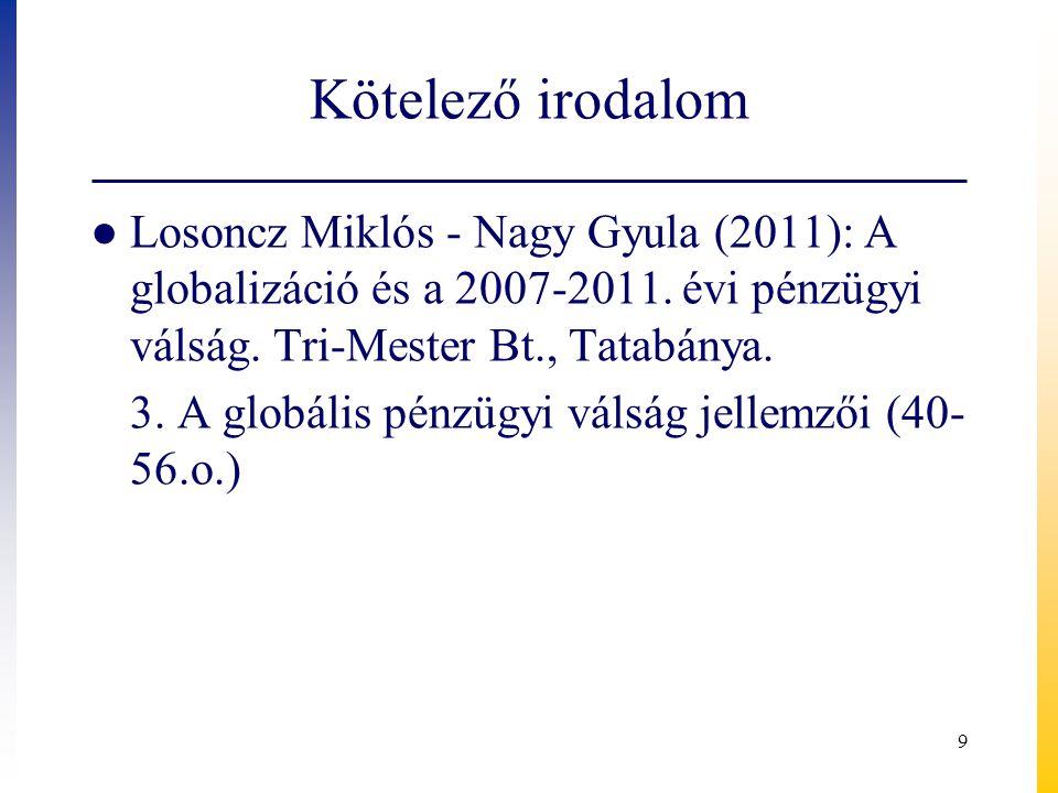 Kötelező irodalom Losoncz Miklós - Nagy Gyula (2011): A globalizáció és a 2007-2011. évi pénzügyi válság. Tri-Mester Bt., Tatabánya.