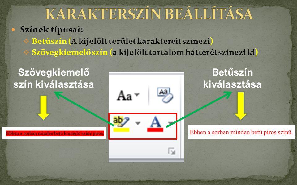 KARAKTERSZÍN BEÁLLÍTÁSA