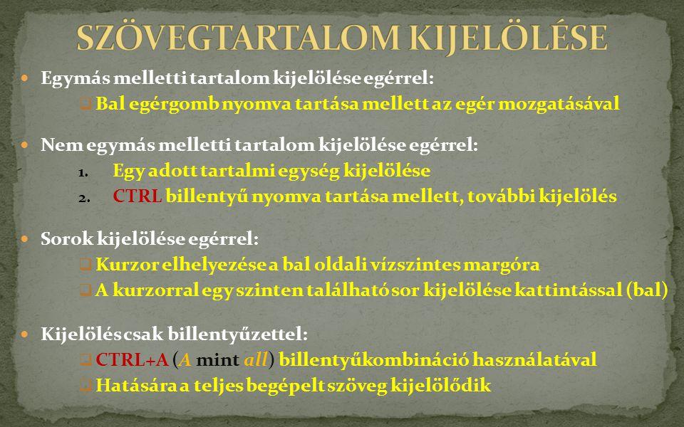 SZÖVEGTARTALOM KIJELÖLÉSE