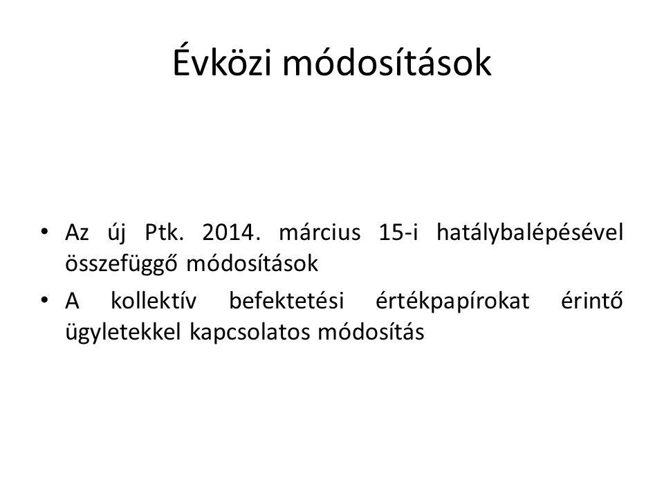 Évközi módosítások Az új Ptk. 2014. március 15-i hatálybalépésével összefüggő módosítások.