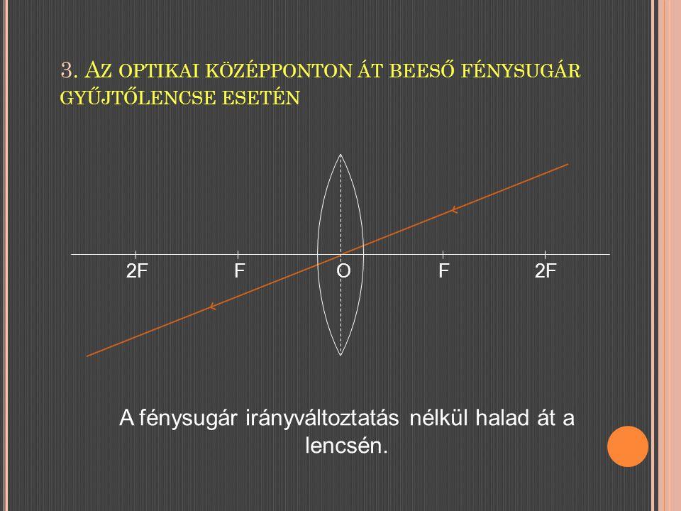 3. Az optikai középponton át beeső fénysugár gyűjtőlencse esetén