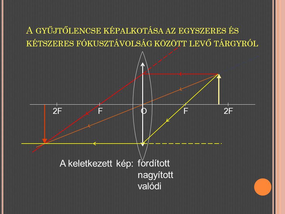 A gyűjtőlencse képalkotása az egyszeres és kétszeres fókusztávolság között levő tárgyról