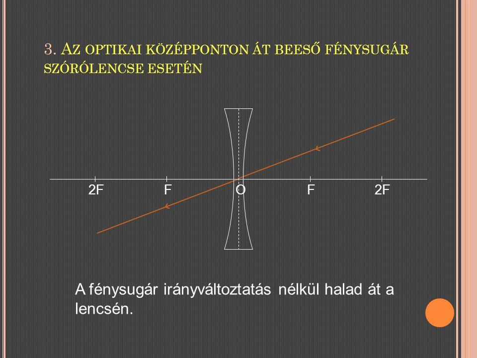 3. Az optikai középponton át beeső fénysugár szórólencse esetén