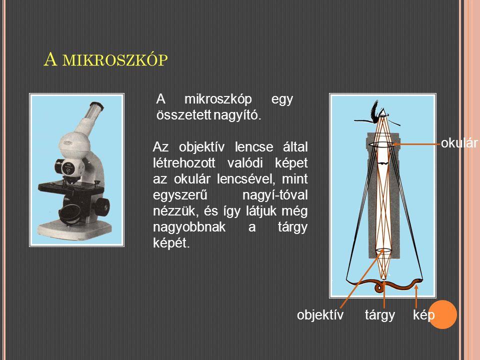 A mikroszkóp A mikroszkóp egy összetett nagyító. okulár