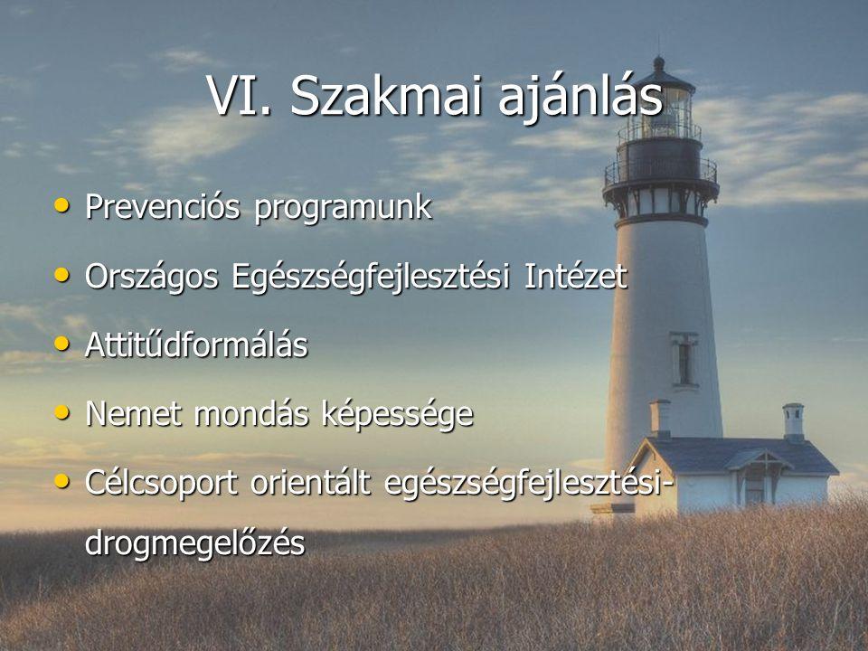 VI. Szakmai ajánlás Prevenciós programunk