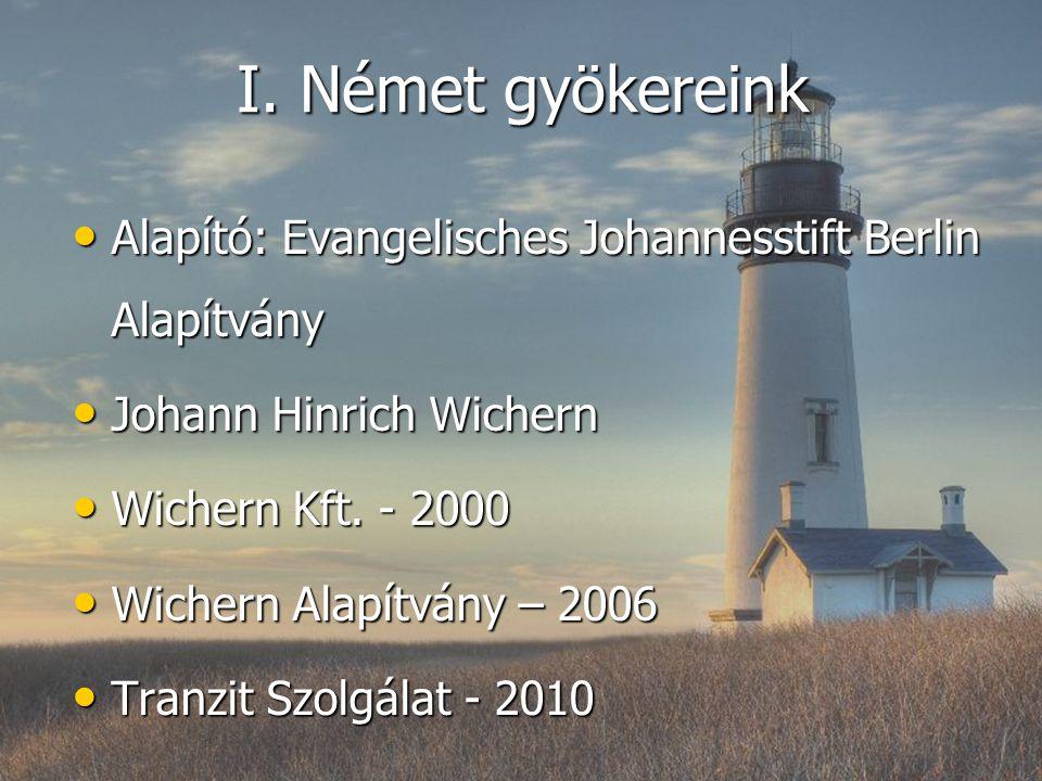 I. Német gyökereink Alapító: Evangelisches Johannesstift Berlin Alapítvány. Johann Hinrich Wichern.