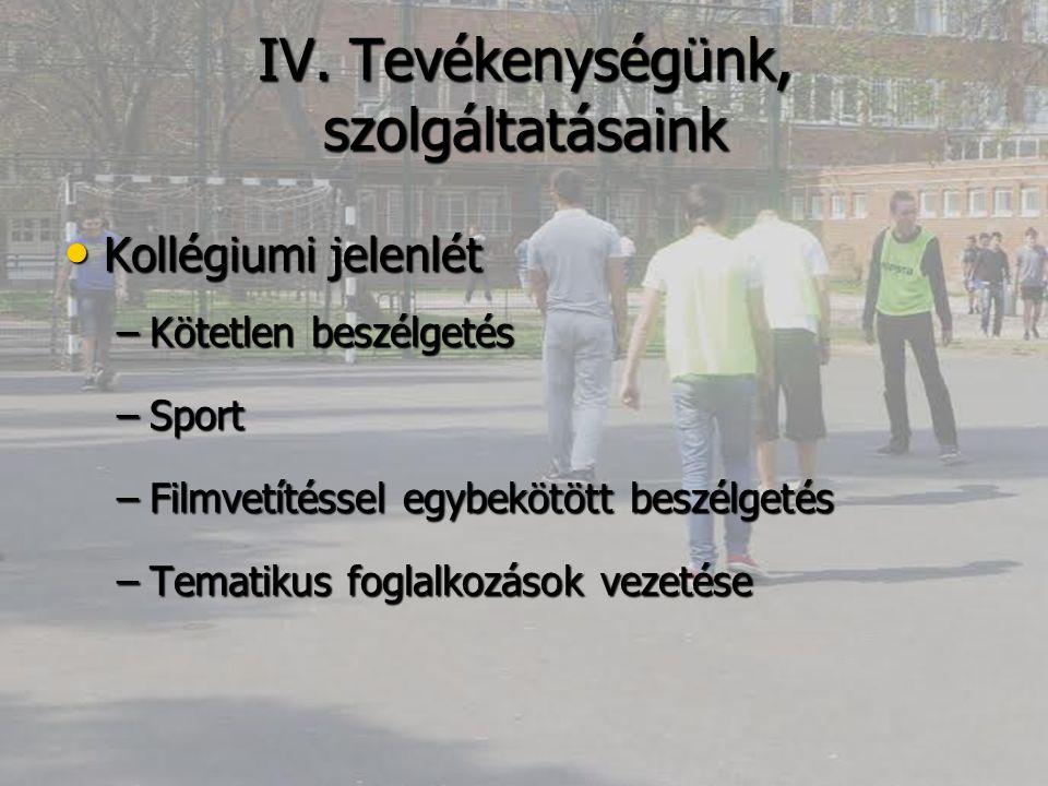 IV. Tevékenységünk, szolgáltatásaink