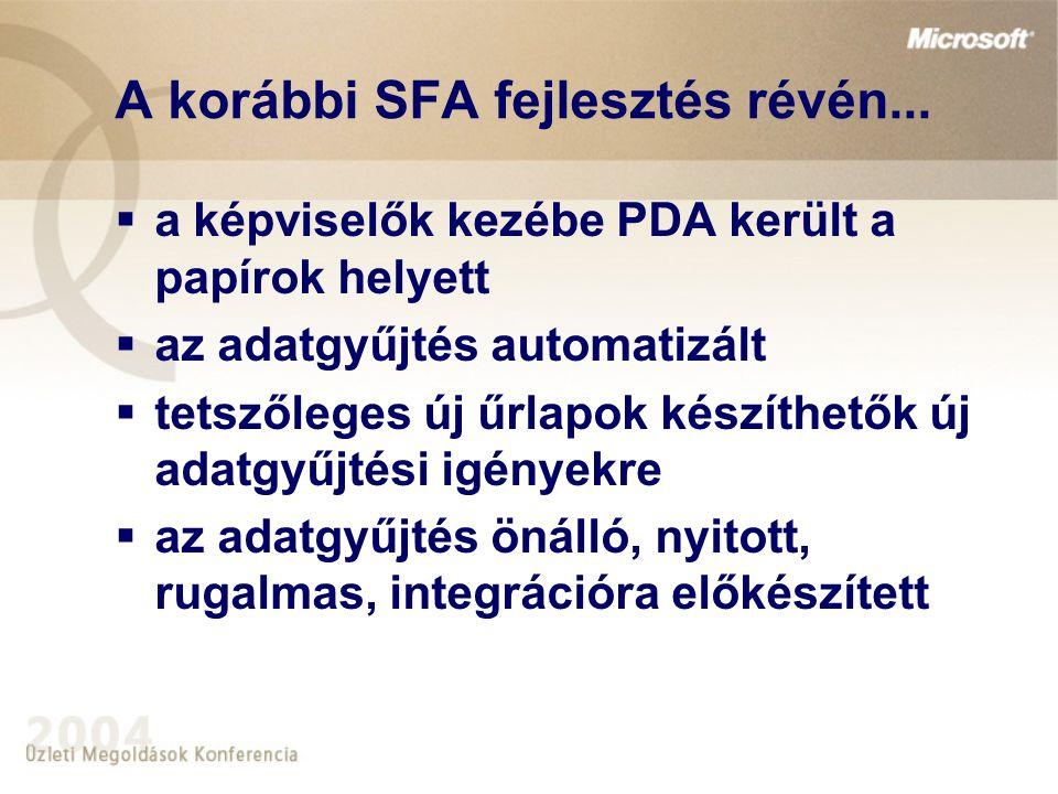 A korábbi SFA fejlesztés révén...