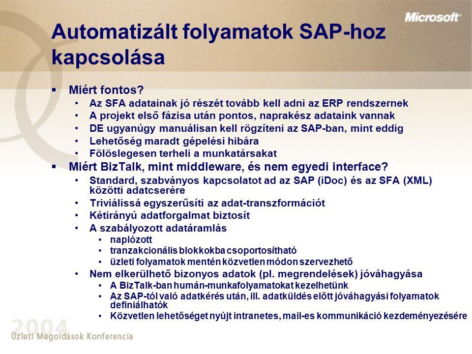 Automatizált folyamatok SAP-hoz kapcsolása