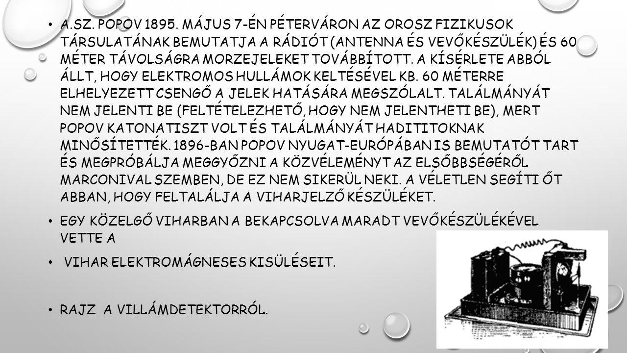 A.Sz. Popov 1895. május 7-én Péterváron az orosz fizikusok társulatának bemutatja a rádiót (antenna és vevőkészülék) és 60 méter távolságra morzejeleket továbbított. A kísérlete abból állt, hogy elektromos hullámok keltésével kb. 60 méterre elhelyezett csengő a jelek hatására megszólalt. Találmányát nem jelenti be (feltételezhető, hogy nem jelentheti be), mert Popov katonatiszt volt és találmányát hadititoknak minősítették. 1896-ban Popov Nyugat-Európában is bemutatót tart és megpróbálja meggyőzni a közvéleményt az elsőbbségéről Marconival szemben, de ez nem sikerül neki. A véletlen segíti őt abban, hogy feltalálja a viharjelző készüléket.