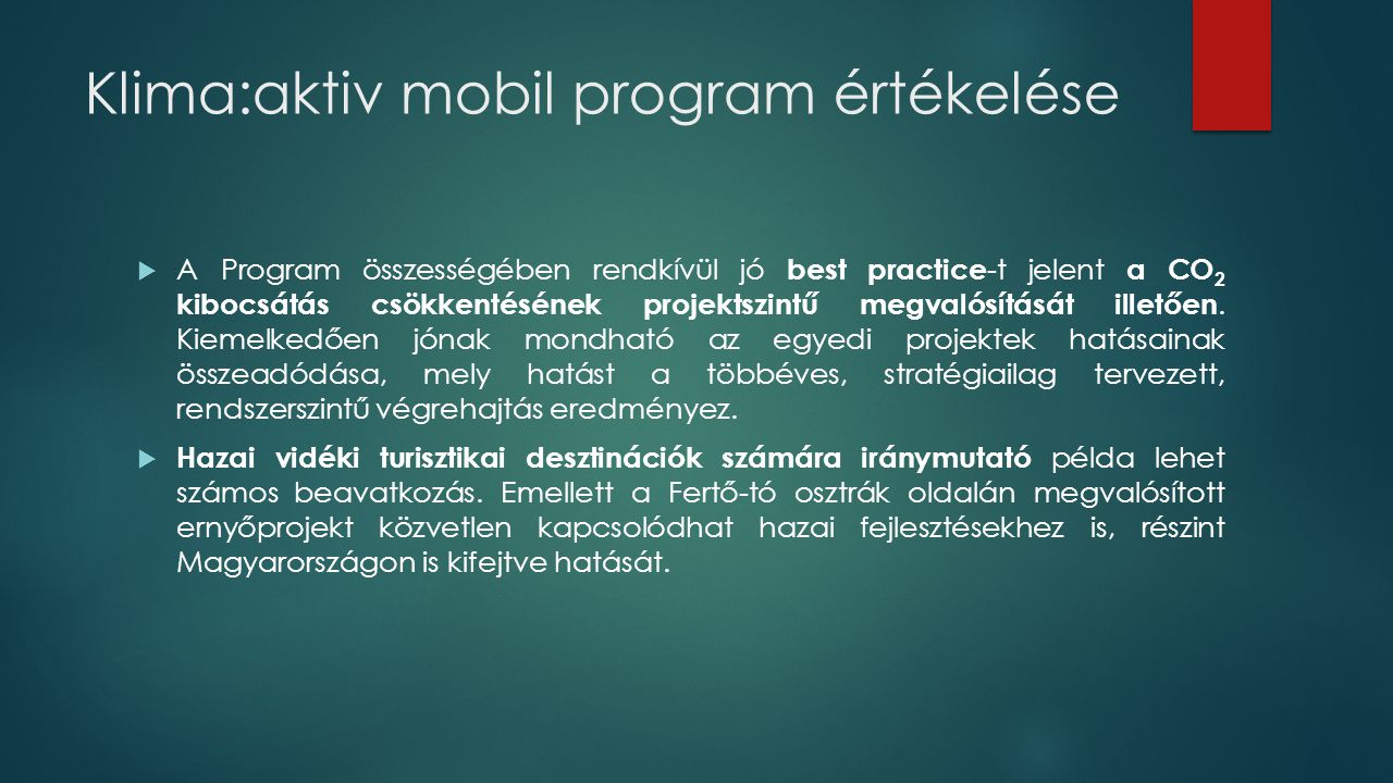 Klima:aktiv mobil program értékelése