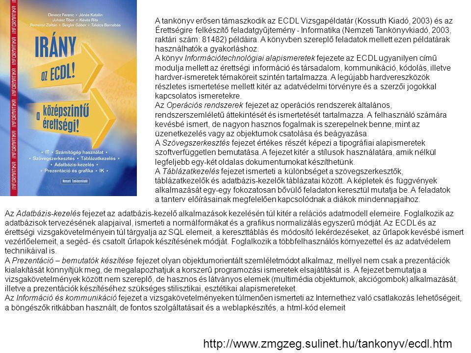 A tankönyv erősen támaszkodik az ECDL Vizsgapéldatár (Kossuth Kiadó, 2003) és az Érettségire felkészítő feladatgyűjtemény - Informatika (Nemzeti Tankönyvkiadó, 2003, raktári szám: 81482) példáira. A könyvben szereplő feladatok mellett ezen példatárak használhatók a gyakorláshoz.