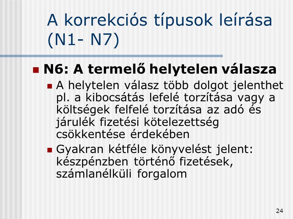 A korrekciós típusok leírása (N1- N7)