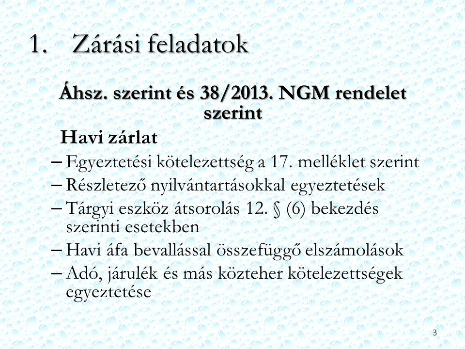 Áhsz. szerint és 38/2013. NGM rendelet szerint