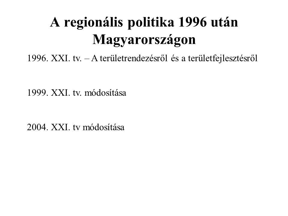 A regionális politika 1996 után Magyarországon