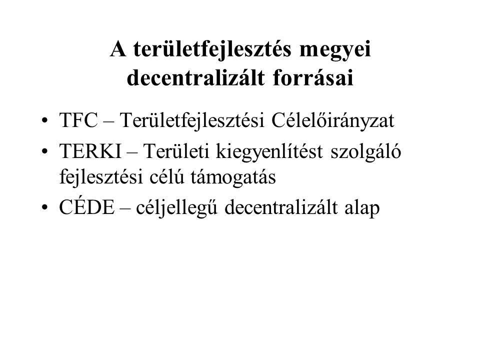 A területfejlesztés megyei decentralizált forrásai