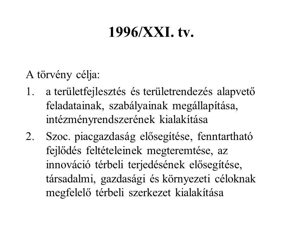 1996/XXI. tv. A törvény célja:
