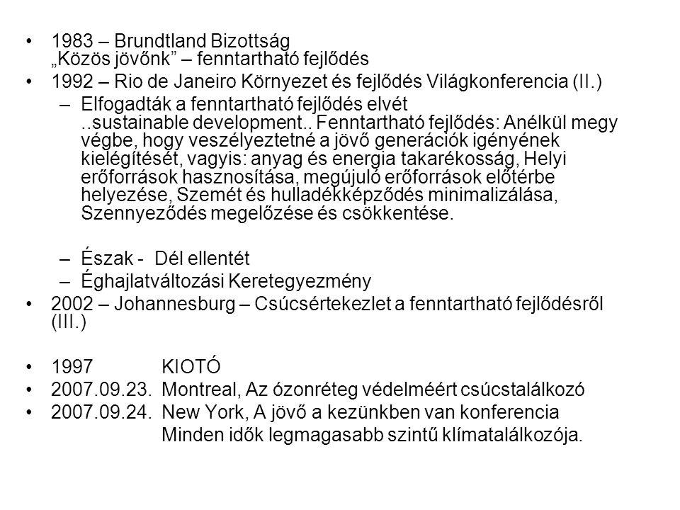 """1983 – Brundtland Bizottság """"Közös jövőnk – fenntartható fejlődés"""