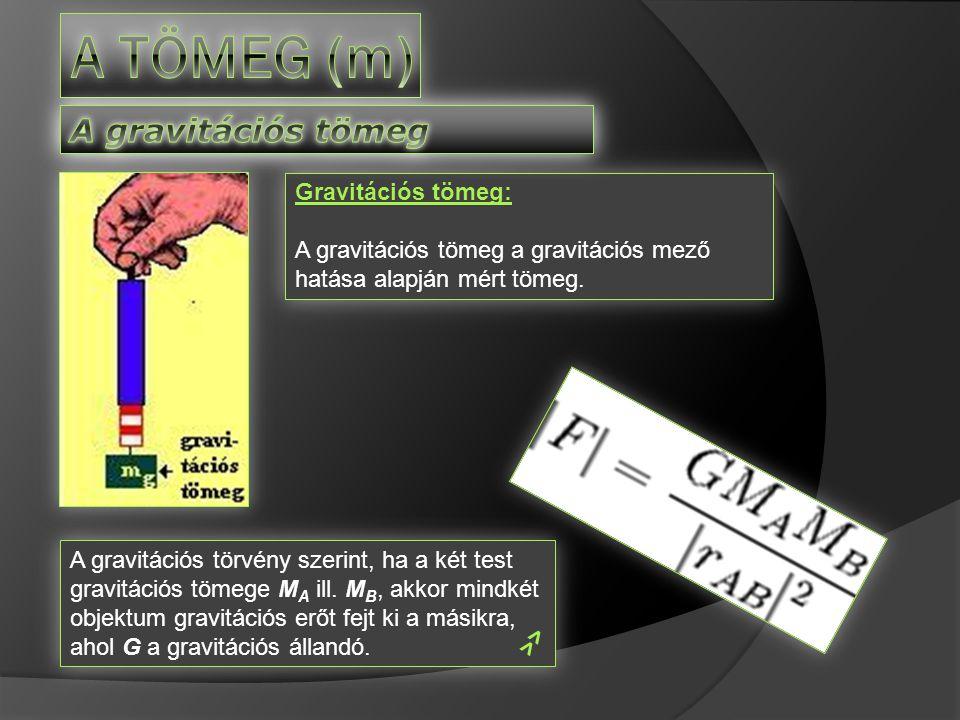A tömeg (m) A gravitációs tömeg Gravitációs tömeg: