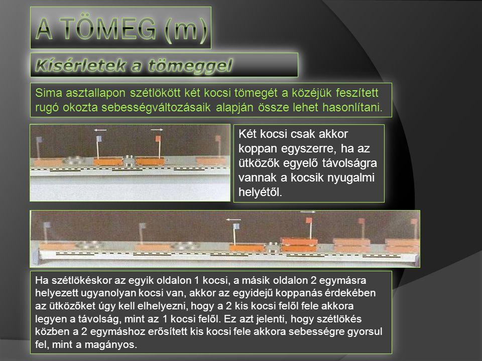 A tömeg (m) Kísérletek a tömeggel