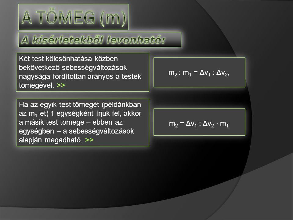 A tömeg (m) A kísérletekből levonható: