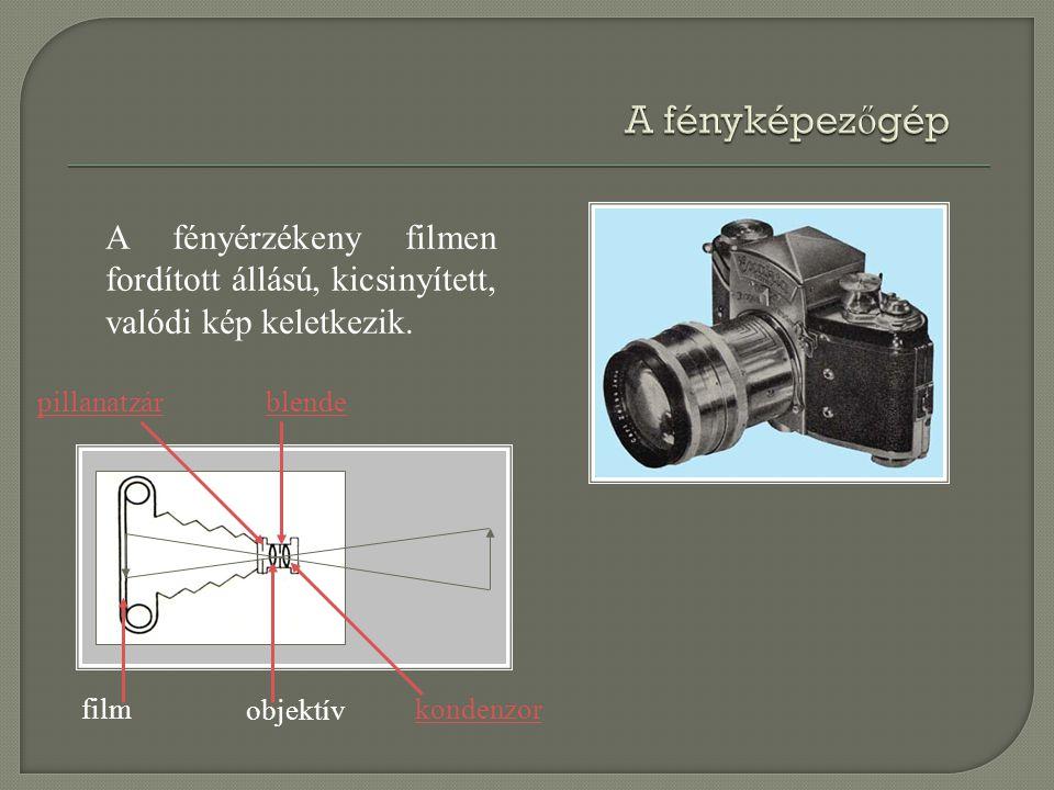 A fényképezőgép A fényérzékeny filmen fordított állású, kicsinyített, valódi kép keletkezik. pillanatzár.