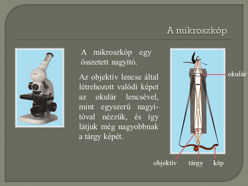A mikroszkóp A mikroszkóp egy összetett nagyító.