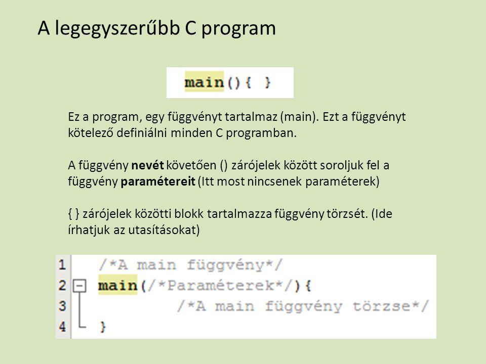 A legegyszerűbb C program