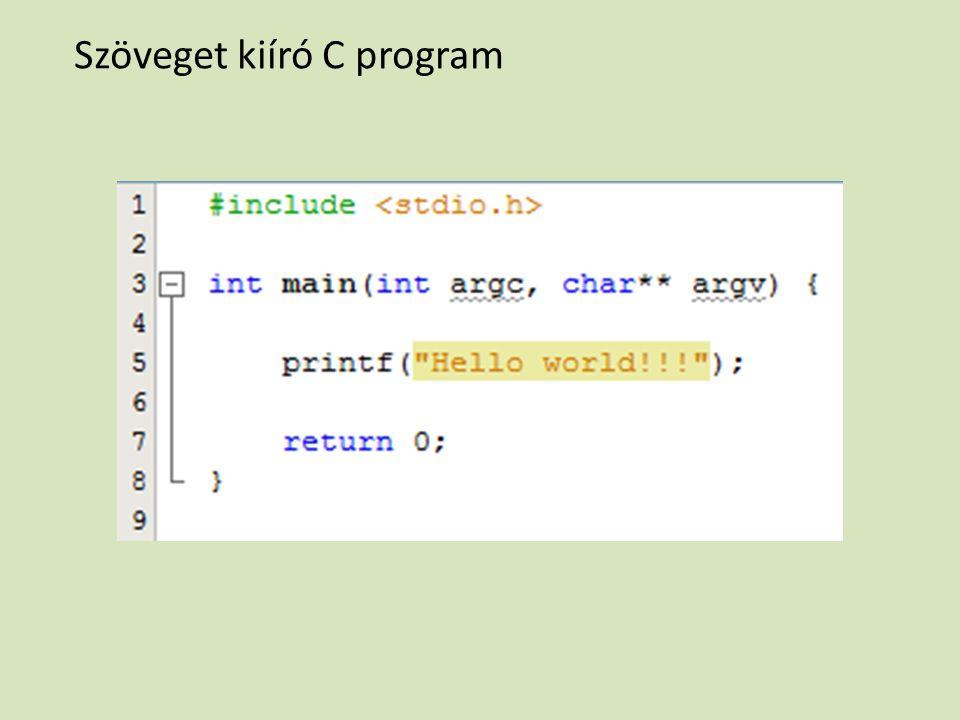 Szöveget kiíró C program
