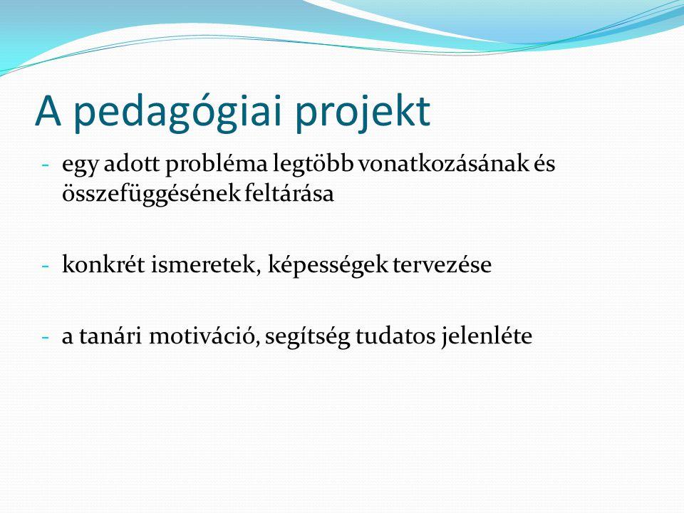 A pedagógiai projekt egy adott probléma legtöbb vonatkozásának és összefüggésének feltárása. konkrét ismeretek, képességek tervezése.