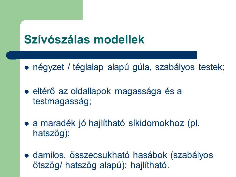 Szívószálas modellek négyzet / téglalap alapú gúla, szabályos testek;