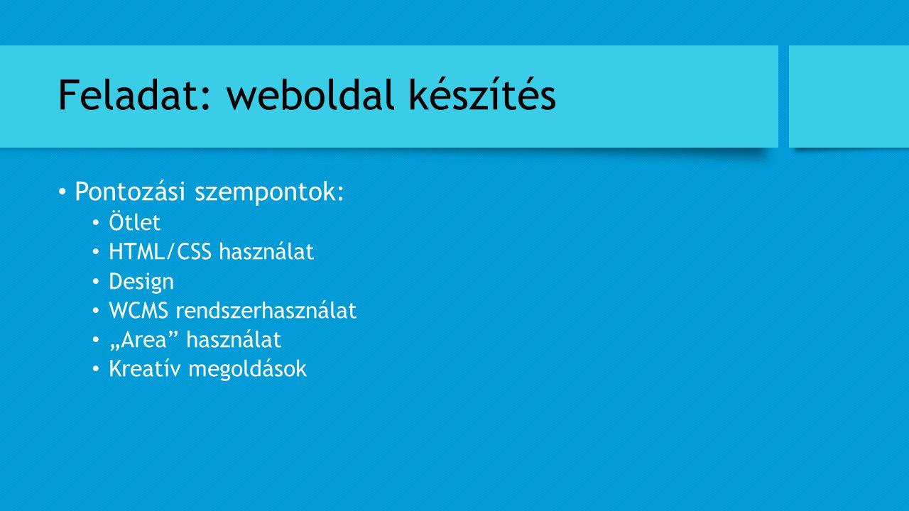 Feladat: weboldal készítés