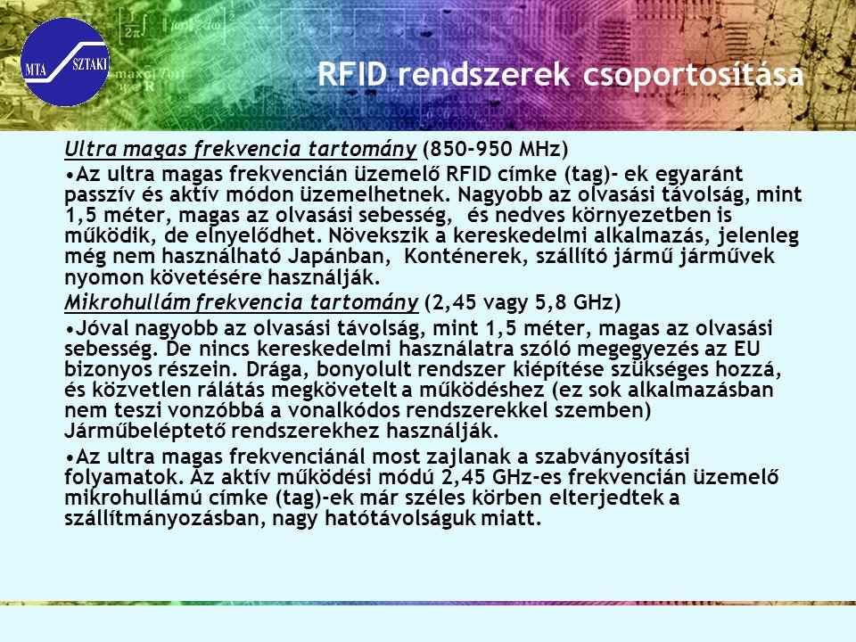 RFID rendszerek csoportosítása
