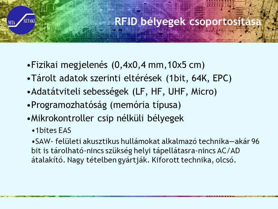 RFID bélyegek csoportosítása