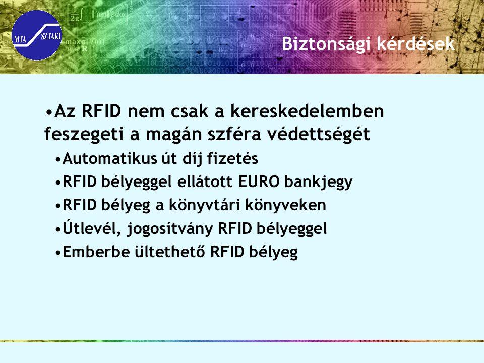 Biztonsági kérdések Az RFID nem csak a kereskedelemben feszegeti a magán szféra védettségét. Automatikus út díj fizetés.