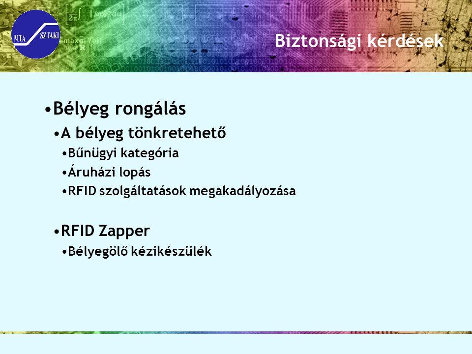 Biztonsági kérdések Bélyeg rongálás A bélyeg tönkretehető RFID Zapper