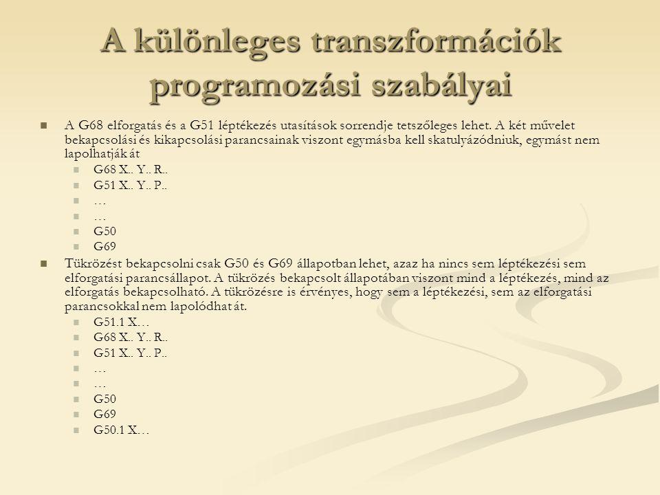 A különleges transzformációk programozási szabályai