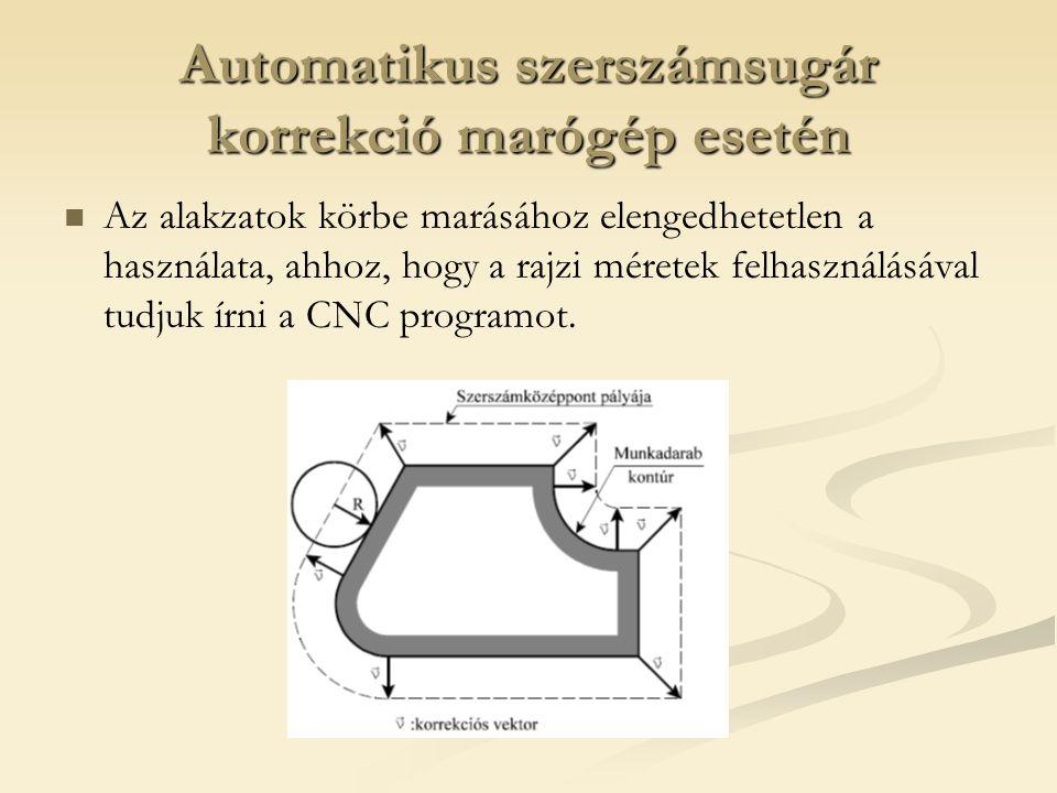 Automatikus szerszámsugár korrekció marógép esetén
