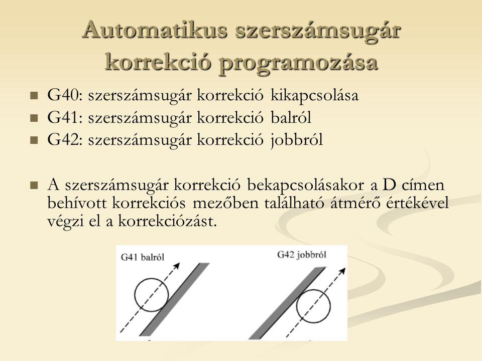 Automatikus szerszámsugár korrekció programozása