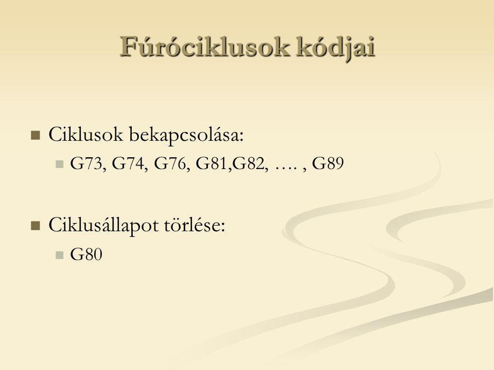 Fúróciklusok kódjai Ciklusok bekapcsolása: Ciklusállapot törlése: