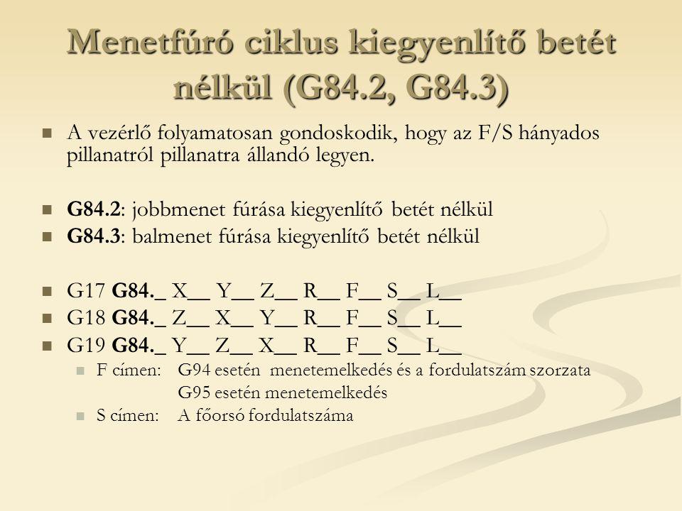 Menetfúró ciklus kiegyenlítő betét nélkül (G84.2, G84.3)