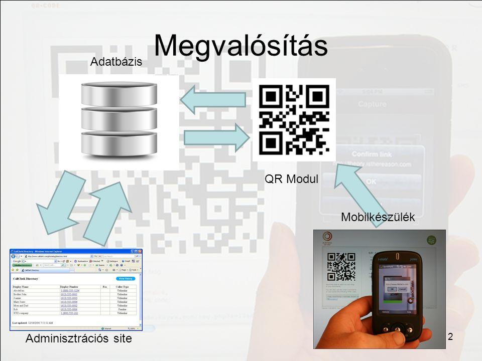 Szerver oldali modul Adatbázis létrehozása a megfelelő attribútumokkal