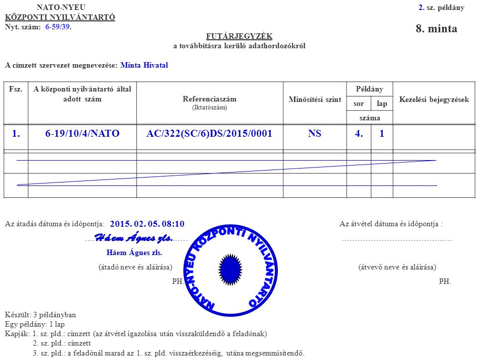 8. minta 1. 6-19/10/4/NATO AC/322(SC/6)DS/2015/0001 NS 4. 1