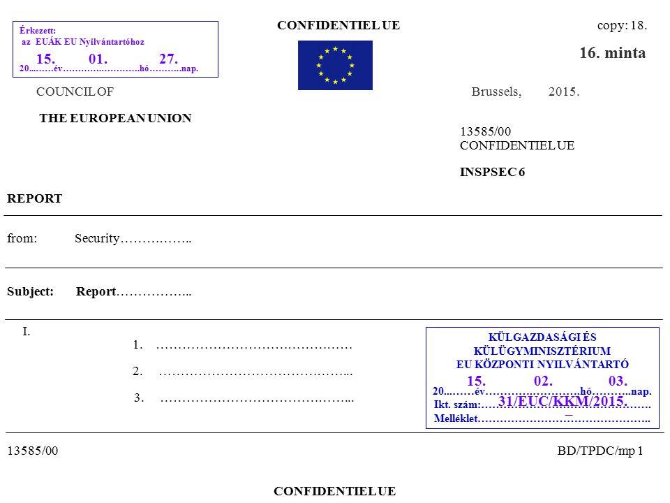 CONFIDENTIEL UE copy: 18.