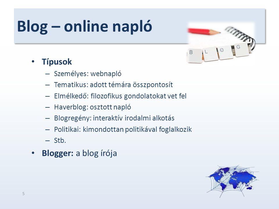 Blog – online napló Típusok Blogger: a blog írója Személyes: webnapló