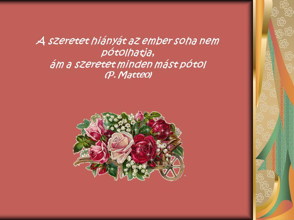 A szeretet hiányát az ember soha nem pótolhatja, ám a szeretet minden mást pótol (P. Matteo)