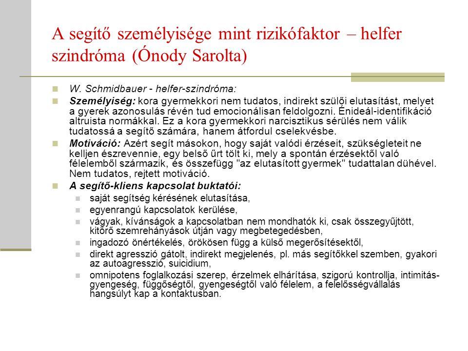 A segítő személyisége mint rizikófaktor – helfer szindróma (Ónody Sarolta)