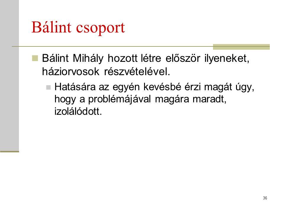 Bálint csoport Bálint Mihály hozott létre először ilyeneket, háziorvosok részvételével.